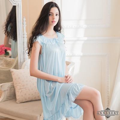 大尺碼Annabery清新粉藍色柔緞小蓋袖性感睡衣 藍 L-2L Annabery