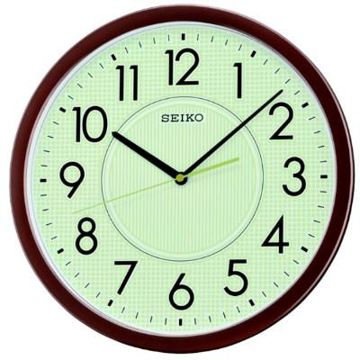 SEIKO 螢光滑動式秒針靜音掛鐘-咖啡/36.1cm