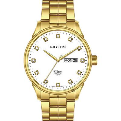 RHYTHM日本麗聲 S.V.Series晶鑽日曆手錶-白x金/40mm