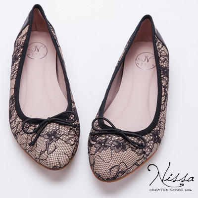 NISSA-微內增高-蕾絲尖楦蝴蝶結平底鞋-粉