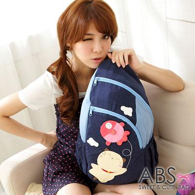 ABS貝斯貓-可愛貓咪手工拼布 單肩背包88-158-海洋藍