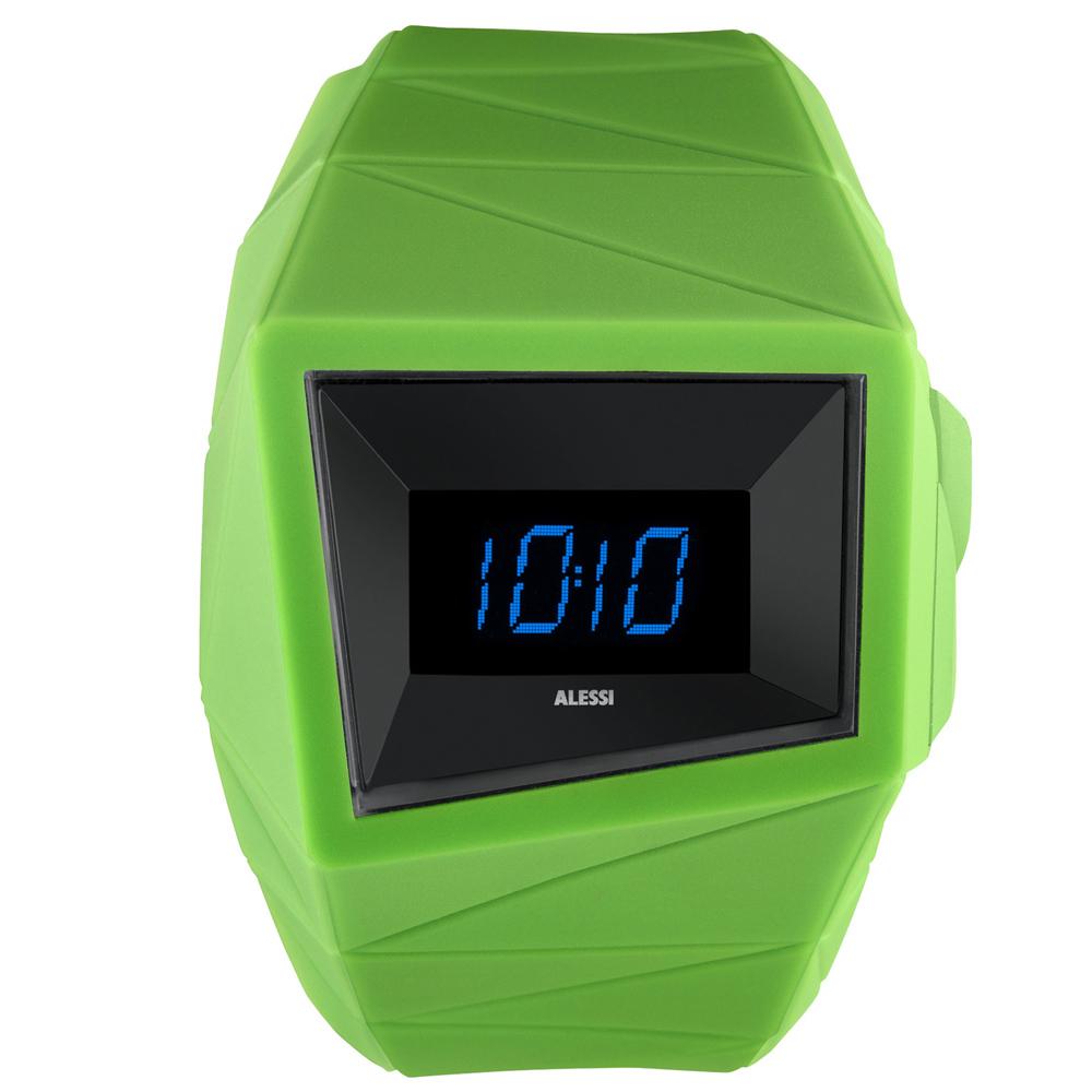 ALESSI 線條結構立體電子腕錶-黑x綠/45mm