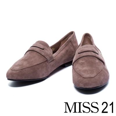 平底鞋 MISS 21 簡約可愛貓腳印麂皮平底樂福鞋-灰