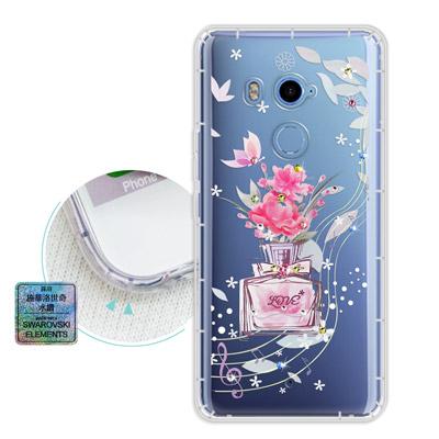 PGS HTC U11+ / U11 Plus 水鑽空壓氣墊手機殼(玫瑰香水)