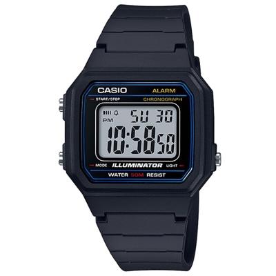 CASIO復古方款造型超實用數位休閒錶-藍框W-217H-1A 41mm