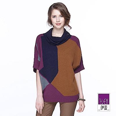 ILEY伊蕾 配色幾何翻領羊毛針織上衣(紫/綠)
