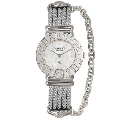 CHARRIOL夏利豪ST-TROPEZ 經典鎖鍊腕錶-白貝面25mm