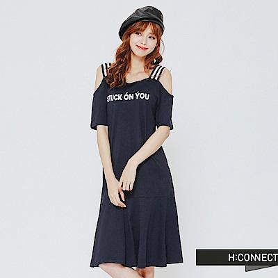 H:CONNECT 韓國品牌 女裝 - 露肩一件式文字洋裝-藍