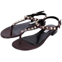 BALENCIAGA 金釦鉚釘夾腳涼鞋(咖啡紅)