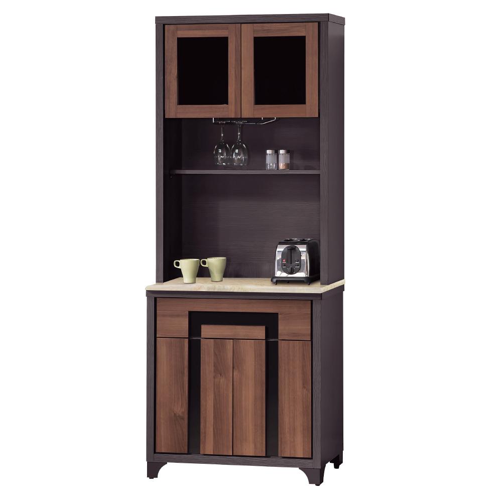 品家居 幻影2.7尺石面餐櫃組合-80.5x46x201cm-免組