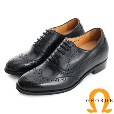 GEORGE 喬治-內增高系列 小牛皮紳士鞋皮鞋(男)-黑色