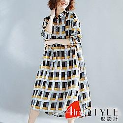 復古撞色拼接格紋寬鬆大擺洋裝 (咖色)-4inSTYLE形設計