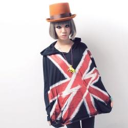 古著 紅色閃電X米字國旗潑墨連帽口袋上衣