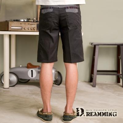 Dreamming 剪接條紋伸縮休閒短褲~灰色