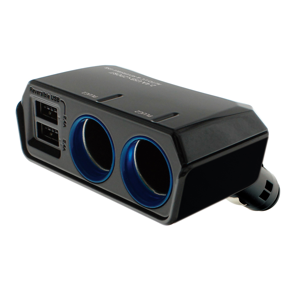 YAC 4.8A雙USB冷光雙孔插座(PZ-790)-急速配