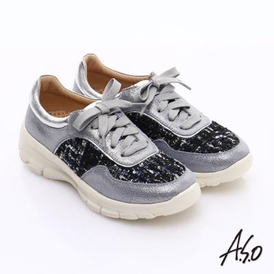 A.S.O 抗震美型 牛皮拼布綁帶奈米休閒鞋 灰
