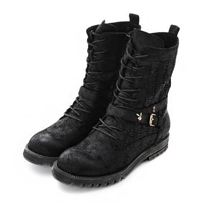 PLAYBOY 個性男孩風 編織皮帶釦短筒靴-黑(女)
