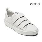 ECCO SOFT 8 LADIES 簡約魔鬼氈休閒鞋-白