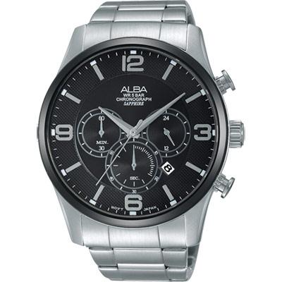 ALBA Prestige 街頭酷流行計時腕錶(AT3823X1)-黑/45mm