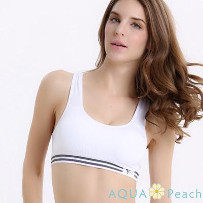 運動內衣 條紋鬆緊帶挖背式運動內衣 (白色)-AQUA Peach