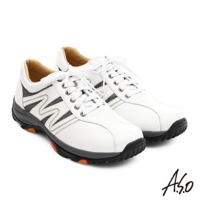 A.S.O 3D超動能 摔花牛皮彈力綁帶奈米休閒鞋 白色