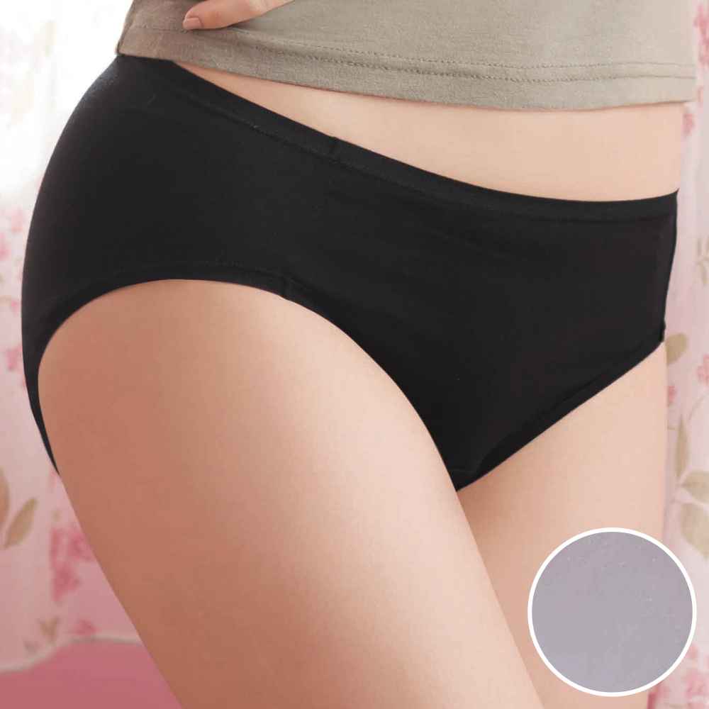 華歌爾-鋅纖健康M-LL中腰三角褲(柔粉紫)