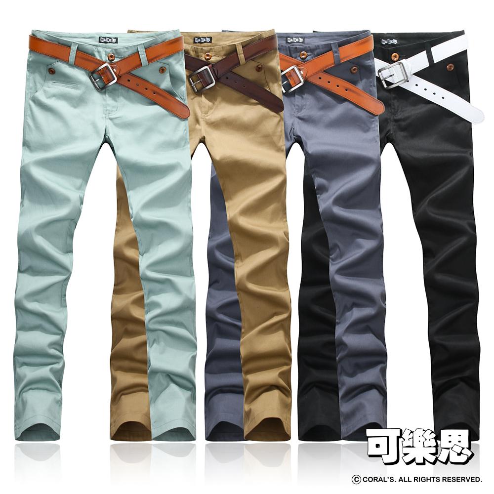 可樂思 口袋單釦造型素面休閒長褲-共四色