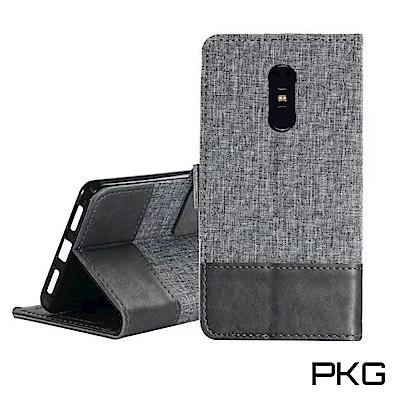 PKG 紅米5 PLUS皮套保護殼(側翻磁扣皮套-灰黑)