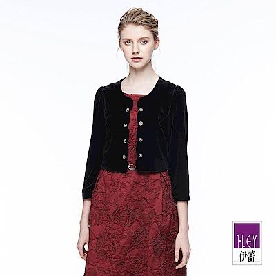 ILEY伊蕾 時尚簡約絨布短版外套魅力價商品(黑)