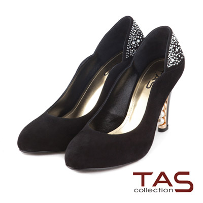 TAS-側曲線水鑽拼接後跟珍珠高跟鞋-暗夜黑