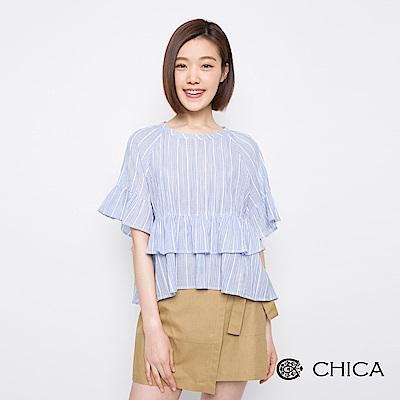 CHICA 清新春氛恣意荷葉條紋設計上衣(2色)
