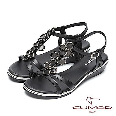 CUMAR閃亮水鑽-寶石花朵造型真皮坡跟涼鞋-黑色