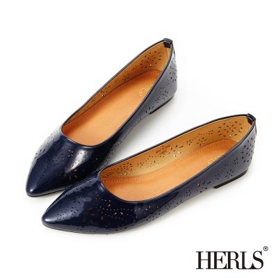 HERLS 清甜夏日 煙花雕刻尖頭平底鞋-藍色