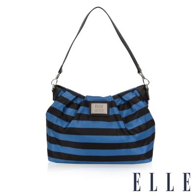 ELLE 法式優雅 海軍風 時尚休閒側背包款搭配質感頭層皮 淑媛設計款-藍黑