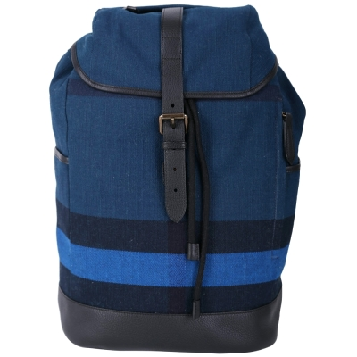 BURBERRY CANVAS 拼色帆布格紋後背包(藏青色)