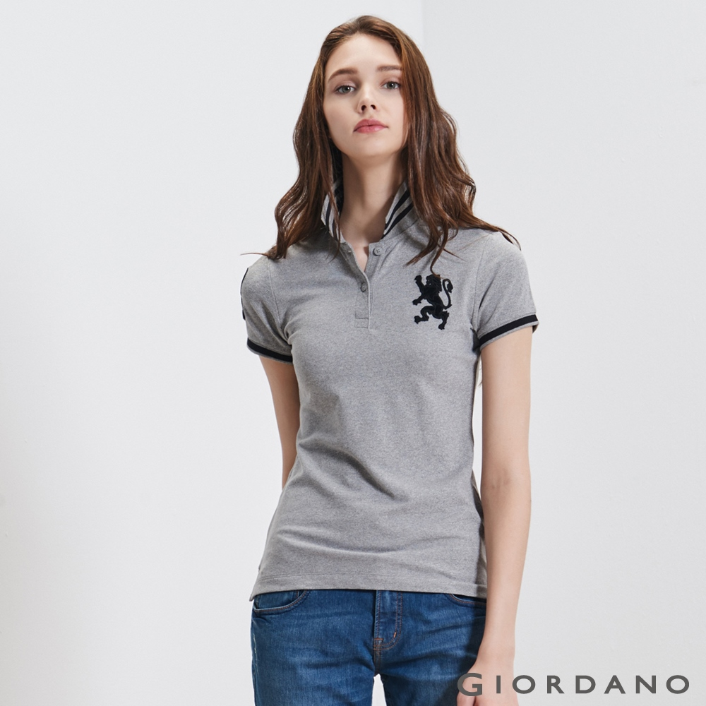 GIORDANO女裝勝利獅王3D刺繡彈力萊卡POLO衫-45雪花中灰