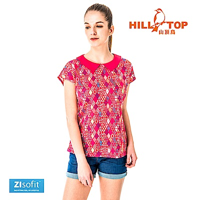 【hilltop山頂鳥】女款吸濕排汗彈性POLO衫S14FF0-映山紅印花