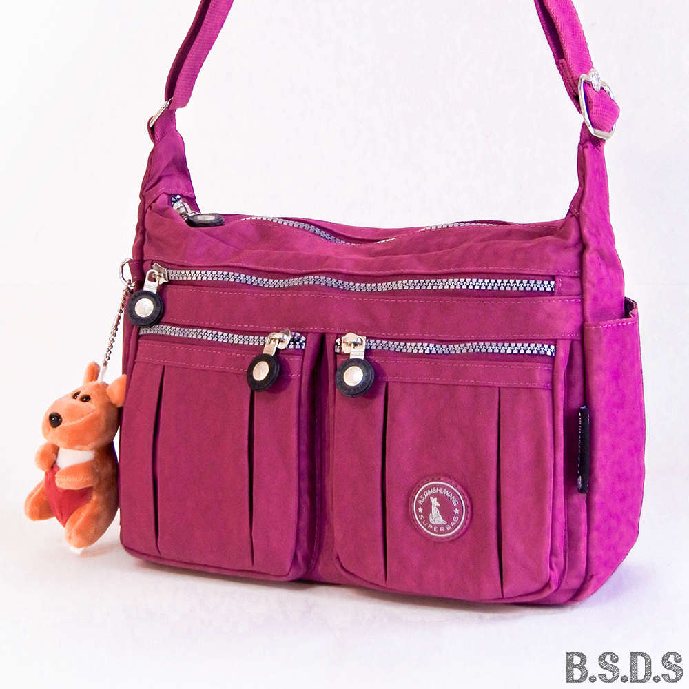 B.S.D.S冰山袋鼠-草原詩集x多夾層皺褶斜背包-紫紅色