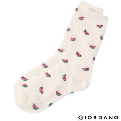 GIORDANO-女裝水果系列中筒襪-01春天奶油-西瓜