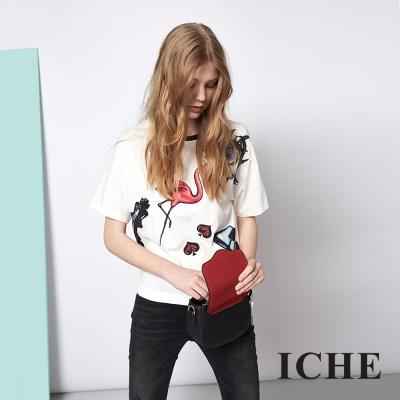 ICHE 衣哲 時尚紅鶴大眼抽象印花造型T恤上衣