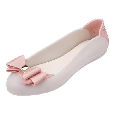 MELISSA 雙層蝴蝶結撞色娃娃鞋-粉/粉紅
