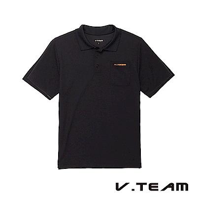 VTEAM 素面吸排口袋POLO衫-黑