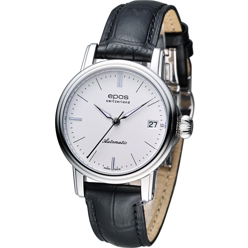 Epos Ladies 水舞新月機械腕錶-白x黑色錶帶/34mm