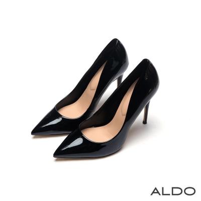 ALDO 派對女神金屬亮面尖頭細高跟鞋~尊爵黑色