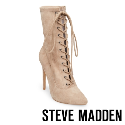 STEVE MADDEN-SATISFIED-TAUPE 綁帶尖頭高跟短靴-絨米