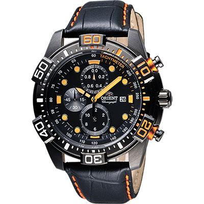 ORIENT 東方錶 怒海爭峰霸氣三眼計時腕錶-黑/45mm