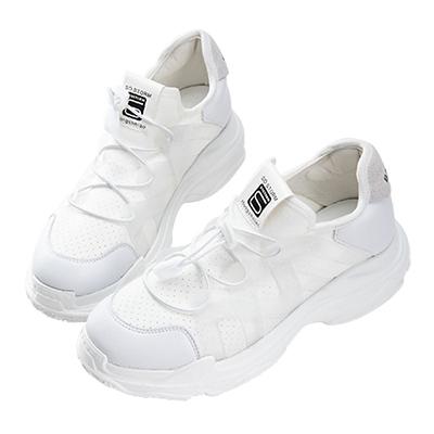 Robinlo & Co. 潮流指標異材質伸縮帶運動休閒鞋 白色