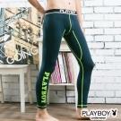 PLAYBOY運動型男流線設計蓄熱保暖內搭褲-丈青底綠線