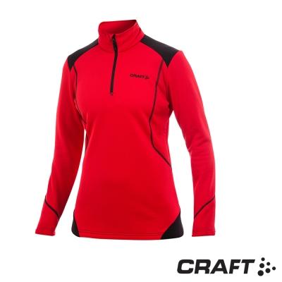 【瑞典 Craft】女款 立領半門襟長袖拉鍊中層衣_紅/黑