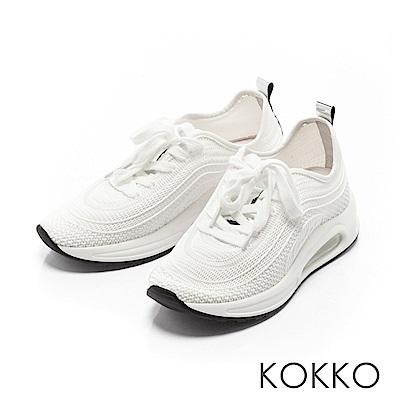 KOKKO - 運動風潮輕盈彈力休閒老爹鞋-椰奶白